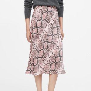 Banana Republic Pink Snake Skin Midi Slip Skirt